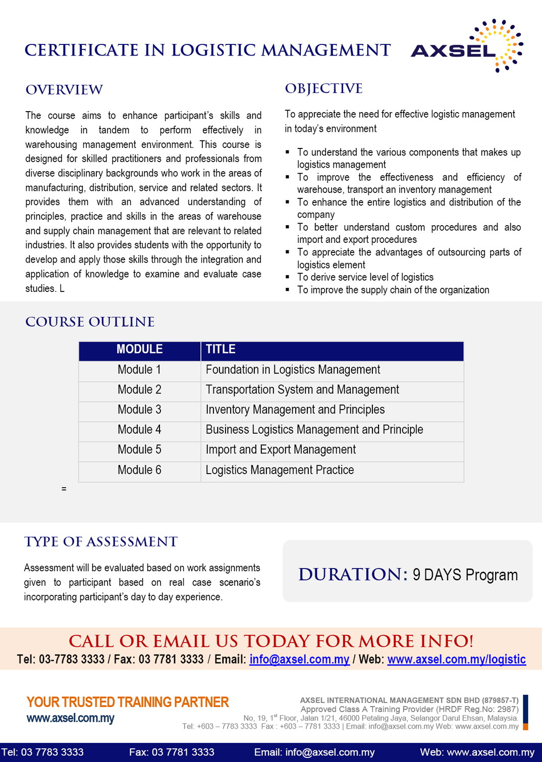 Certificate in Logistic Management | Axsel Management